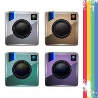 Set van retro fotocamera