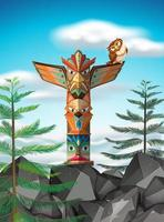 Totem pole on the cliff