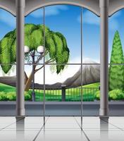 Quarto com vista da janela para a natureza