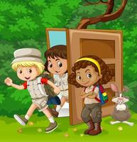 Children walking through door in garden wall  vector