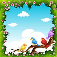 Pássaros em um galho no quadro de folhas e flores