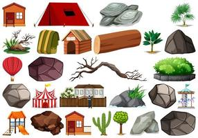 Set of  nature objects on white background vector