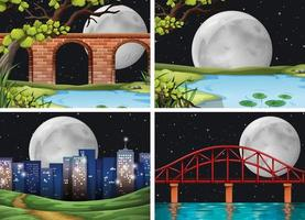 Four scenes of city on full moon night