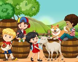 Niños y animales de granja. vector