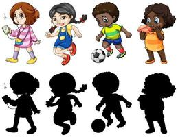 Set of four active children characters and silhouettes