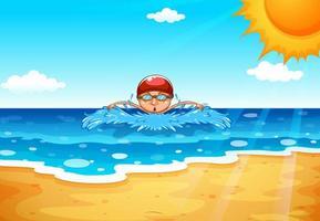 Uomo che nuota nell'oceano