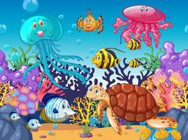 Scene with sea animals under the ocean near coral reef