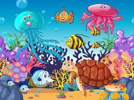 Scena con animali marini sotto l'oceano vicino alla barriera corallina