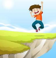 Boy jumping on the cliff