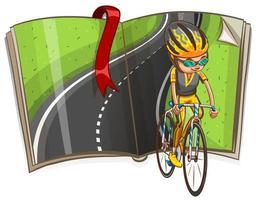 Bemannen Sie das Radfahren und leere Straße in einer Buchillustration