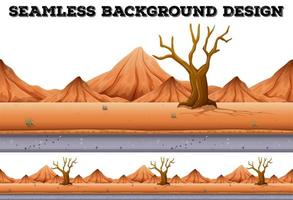 Seamless background design with desert tree and mountain