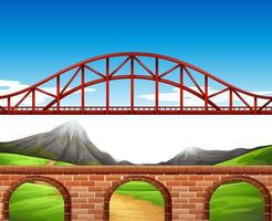 Background scene with bridge and wall