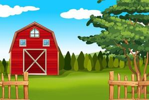 Farmland with barn on the field vector