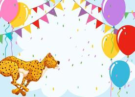 Cheetah with balloons  birthday template