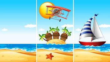 Conjunto de tres escenas de playa.