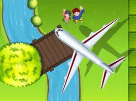 Aerial view of airplane flying over the park vector