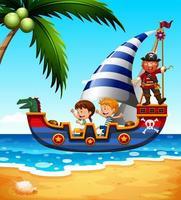 Kinder auf dem Schiff mit Piraten