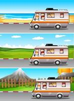 Scenes with children riding in camper van