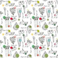 Organic Farm Vegetables Seamless Pattern