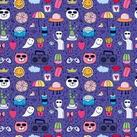 Trendy Doodle Cartoon Seamless Pattern Background