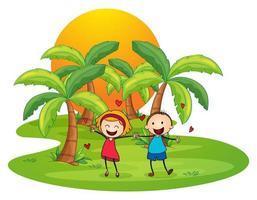 Une île avec un couple de dessin animé heureux
