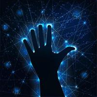 Dark raised hand silhouette on futuristic glowing wireframe background.