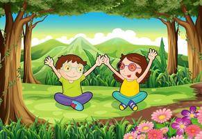 Two playful kids in the forest vector