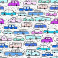 Coche Doodle Cool Colors Pattern Background vector