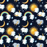 Weather icons seamless pattern with sun, clouds, moon, rainbow, rain, snow and lightning.