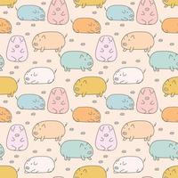 Hand Drawn Cute Pig Seamless Background vector