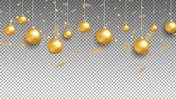 Gold balls and confetti on transparent background