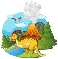 Scene with dinosaurs and volcano