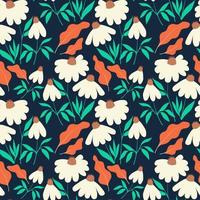 Seamless pattern with chamomile flowers and leaves on dark blue background