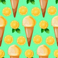 Lemon mint ice cream cone seamless patterns with lemon slices and green leaves