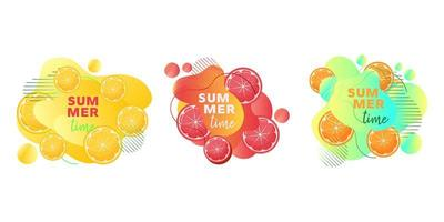 Summer time web banners set with fruits lemon, orange, grapefruit and abstract liquid shapes