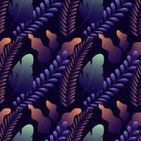 Seamless pattern with different exotic leaves on dark blue background.