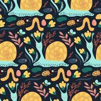 Seamless pattern with natural forest animals snail, bees, bugs, plants.