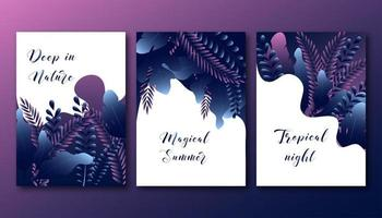 Summer posters set with abstract trendy gradient forest leaves