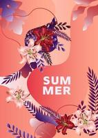 Summer poster with lily flowers, leaves and abstract liquid shapes