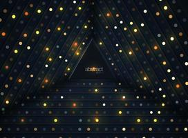 Abstract 3D background with luminous gold dots in 3D style