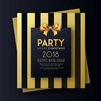 Golden on Black Merry Christmas and Happy New Year 2018 Party Invitation Card