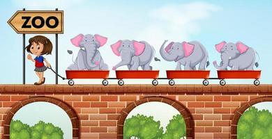 Menina puxando carrinhos carregados com elefantes para o zoológico