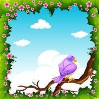 Uccello viola sul ramo con cornice di foglie e fiori