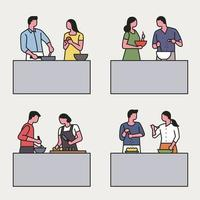 Outline style couples cooking together