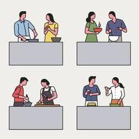 Esbozar parejas de estilo cocinando juntos