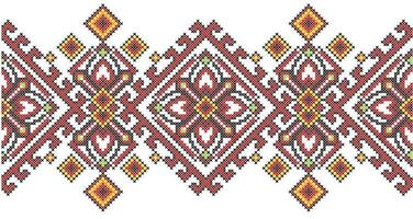 Ukrainian ethnic style cross stitch embroidery geometric pattern vector