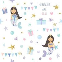 Mermaids Are Real Birthday seamless pattern background