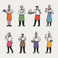 Outline style chef characters. vector