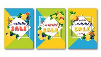 Flyers de vente d'été sertie de fruits colorés