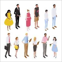 Isometric people character set top view vector